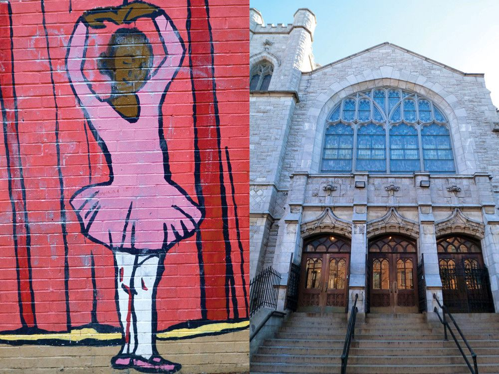 Left: A mural depicting a ballerina highlights the importance of dance in the area: Dance Theatre of Harlem, the ballet company founded in 1969 by Arthur Mitchell and Karel Shook, is headquartered at 152 Street and Amsterdam. Right: The Convent Avenue Baptist Church is known for its musical prowess: the institution has six choirs.