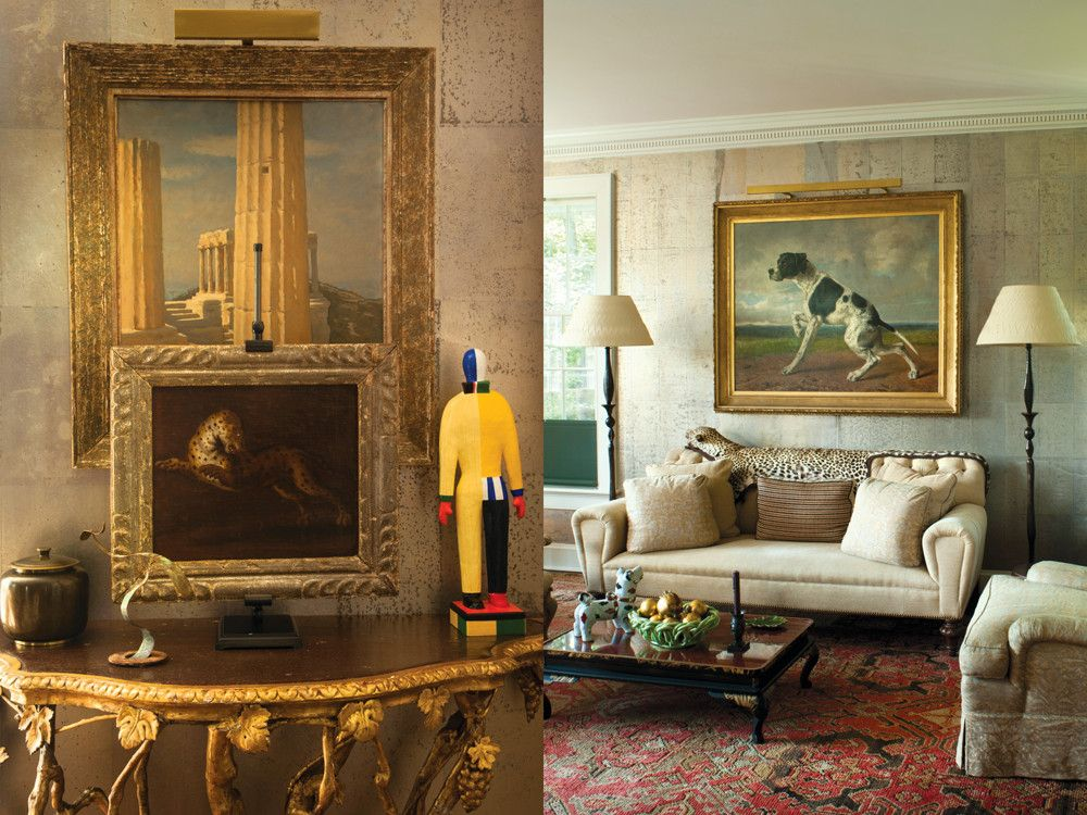 Left: An early 19th-century Italian console with a faux porphyry top supports a copy of a Kazimir Malevich sculpture purchased at the Guggenheim Bilbao. Hanging above are a 17th-century Italian painting of a tiger and an interior from Herculaneum. Right: The living room's Chinese tea paper wallcovering changes subtly with the light. The couple's collection of canine portraits includes this riveting Belgian painting of a pointer; reproduction Giacometti lamps are castings from the Rockefeller collection; a Fortuny fabric covers the large lounge chair.