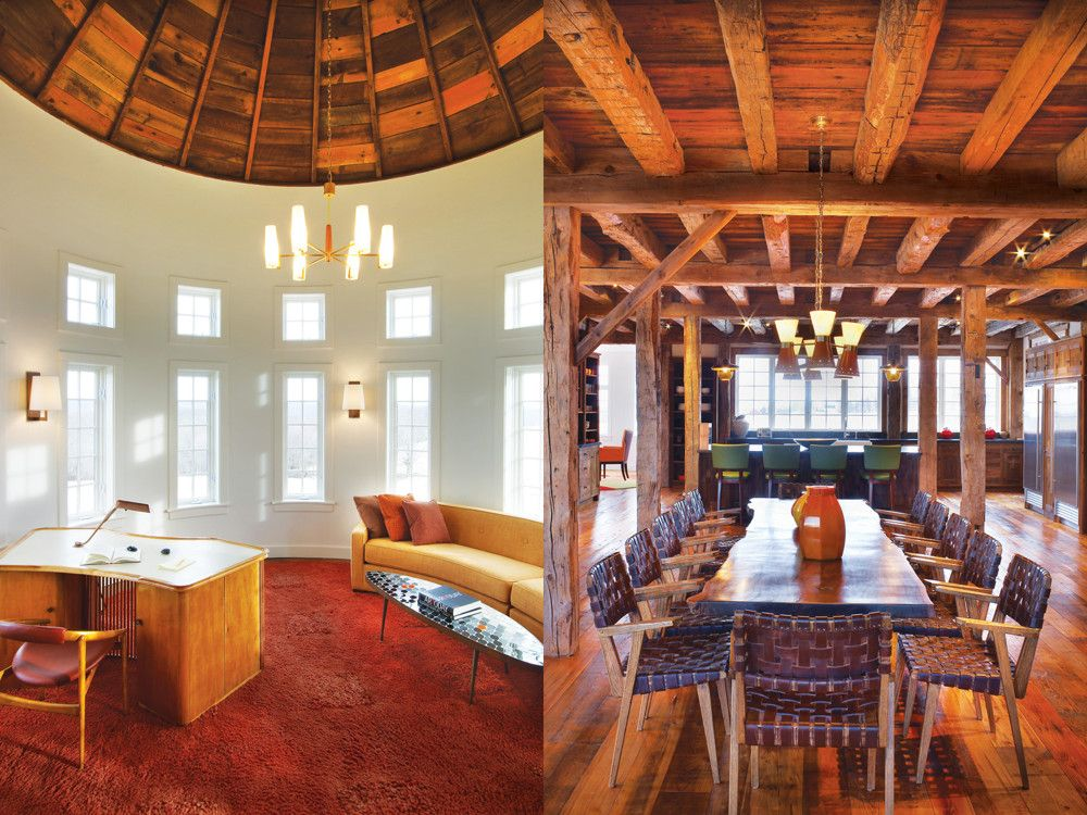 Left: A pair of industrial French lamps from the 1950s inspired the house's entire mid-century decorative scheme; chairs and footstools by Hans Wegner, walnut armchairs with backs of strung leather cord, and custom sofas and a custom rug interact playfully with the barn's heavy beams. Right: Barman sourced a long wood-plank table with natural edges and woven-leather chairs from John Rosselli & Associates for the dining room. The pendant lamp is vintage.