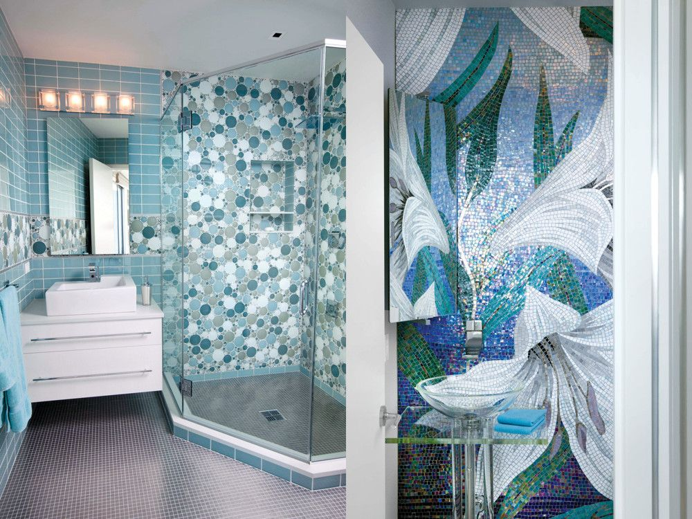 Left: In a child's bath, Rubin clad the walls in glass tiles and the floor in stainless steel. Right: An Italian tile mosaic from Sicis brings in the water shades and a floral theme that Rubin uses throughout.