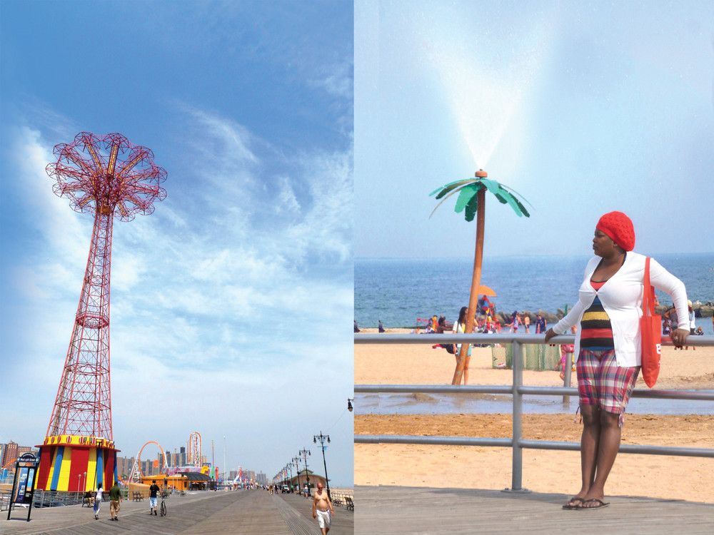 Left: The iconic, yet now defunct, Parachute Jump ride remains one of the Coney Island boardwalk's most famous landmarks. Right: Plastic palm trees spewing water provide relief for heat-weary beachgoers.