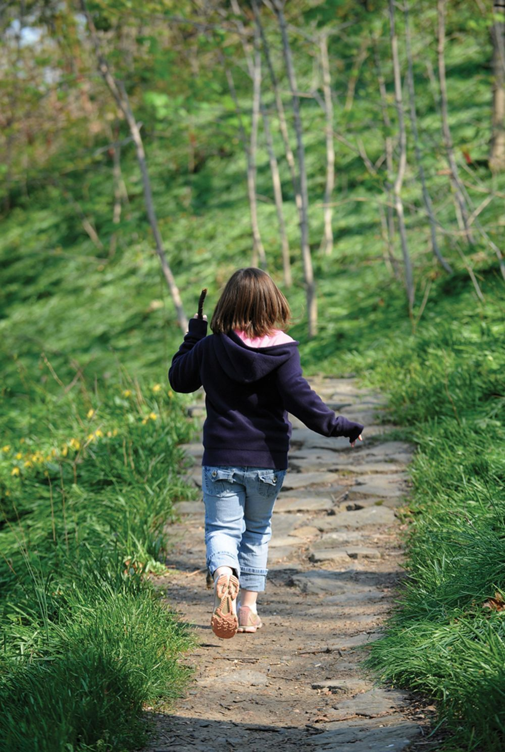 kid walking nature trail