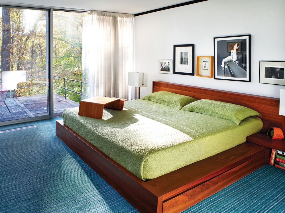 The one piece of furniture purchased specifically for the house is a bed from BoConcept.
