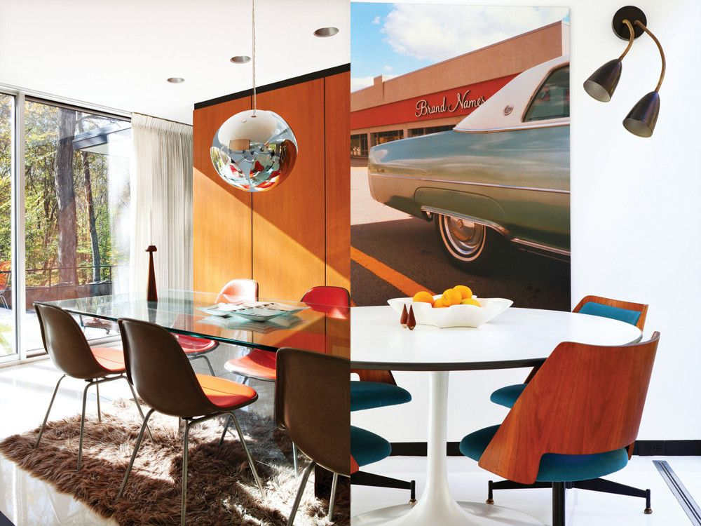 Left: Original Eames chairs from Herman Miller pull up to the dining room table, which has a 3/4–inch glass top set on a mirror-veneer T-style base. The vintage chrome pendant fixture adds another reflective touch. Right: In the eat-in kitchen is a Saarinen-designed dining table. Artisans restored all the walls and ceilings with lathe and plaster. At the floor and ceiling, a 2-inch black reveal helps create the impression of floating planes.