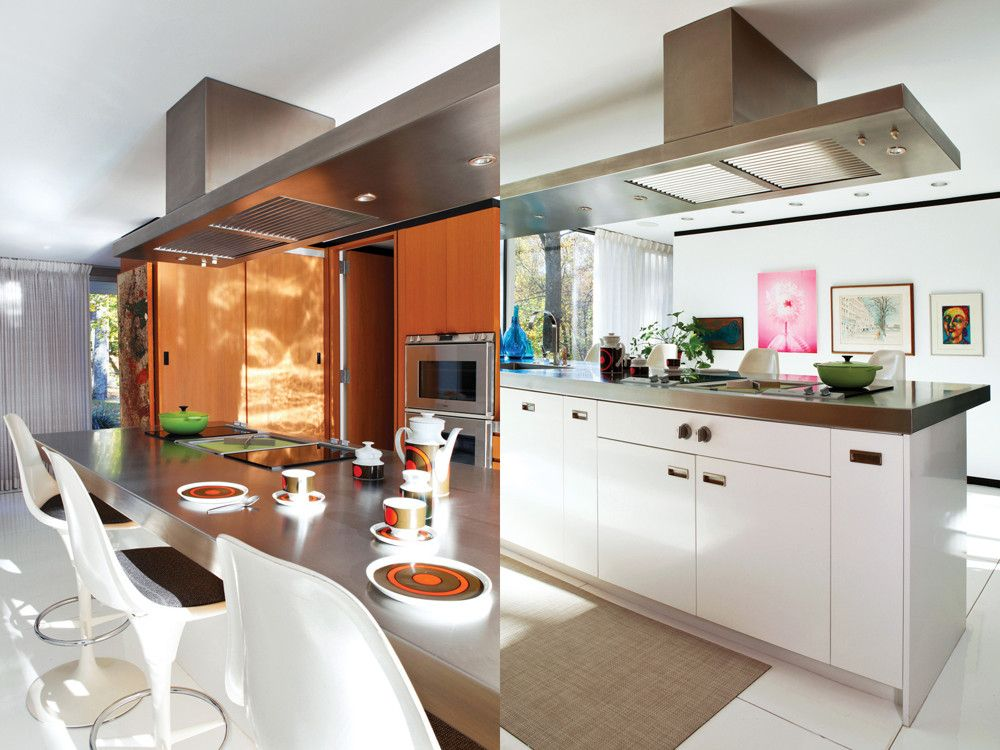 Left: Saarinen Tulip barstools pull up to the kitchen counter. In the redone kitchen, all the storage elements are teak; a restoration expert balanced the tones of the new wood with the original for a seamless effect; Mandolene sketched the hood, based on an original from the Italian manufacturer Dada. Right: The kitchen island is one piece, topped in stainless steel, with an integrated sink. All the appliances are from Gaggenau.
