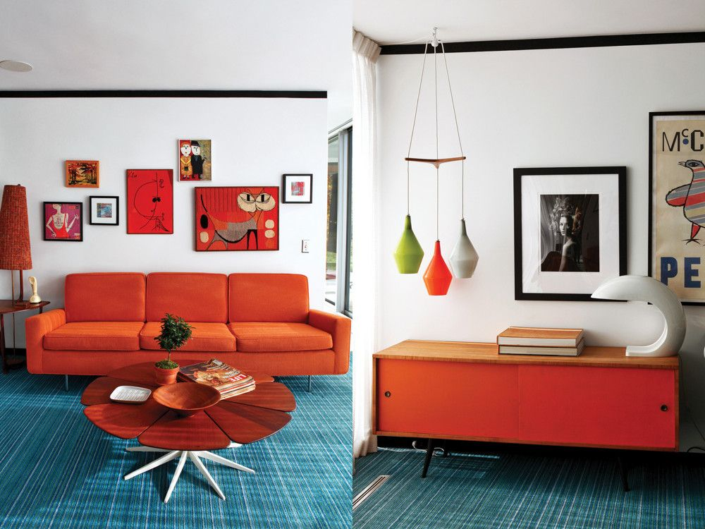 Left: A Florence Knoll sofa from 1953 faces one of Richard Schultz's Petal tables from 1960. Right: The couple combined two bedrooms to create the media room, which has a Paul McCobb cabinet and wool carpeting by Missoni.