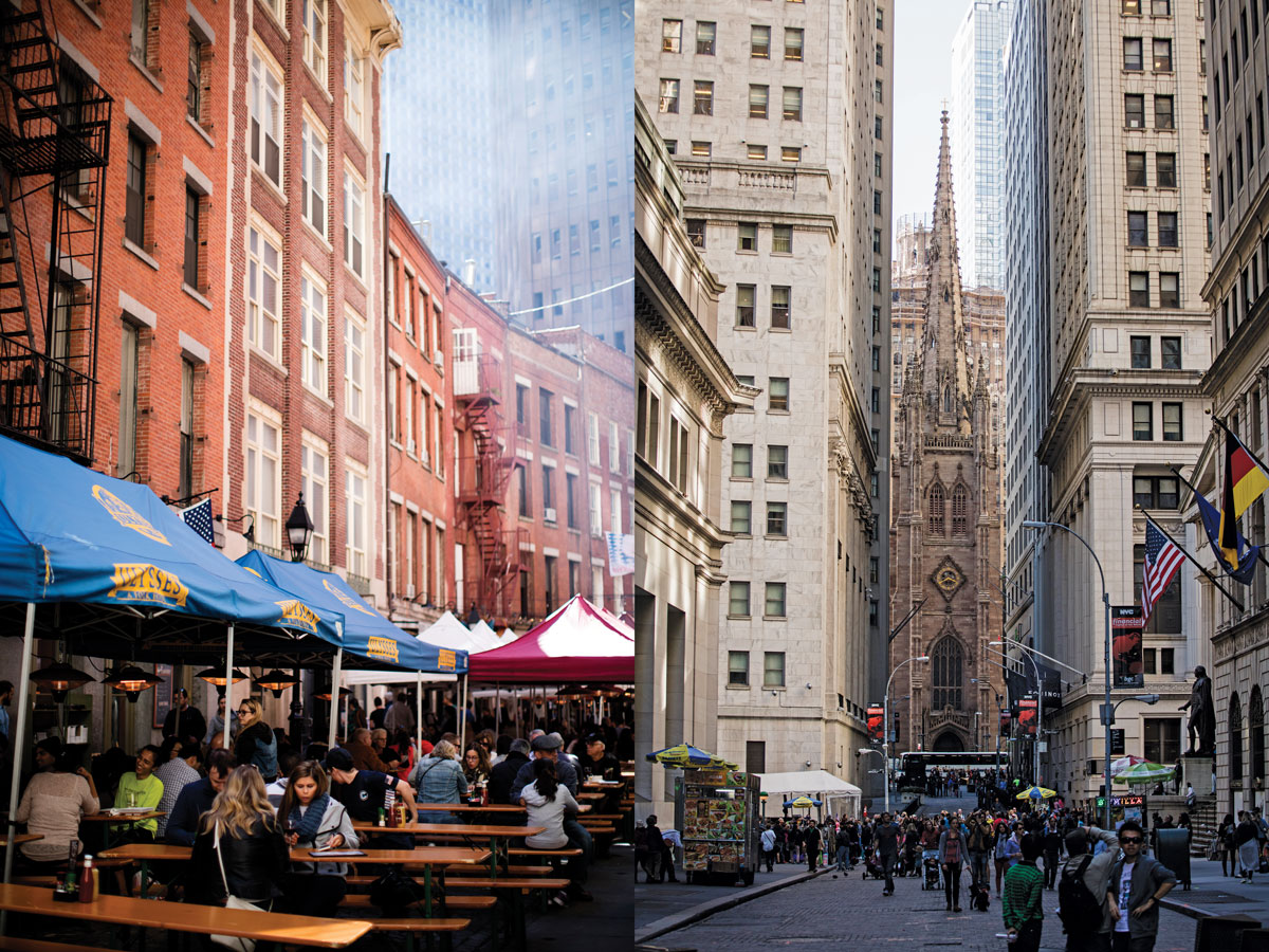 Left: The South Street Seaport, once just a tourist destination, is now a small community that includes an exciting restaurant scene as well as shopping and historic sightseeing. Right: Looking west on Wall Street, with historic Trinity Church at its terminus. Photographer: Mark Weinberg