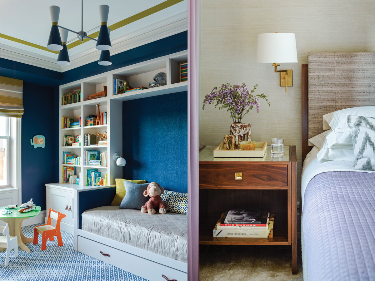 Left: The five-year old son's room carries out the blue color theme. Mendelson designed all the cabinetry. The ceiling fixture is from Rejuvenation. Right: The walls in the master bedroom are covered with Cowtan & Tout wallpaper. The bed and nightstand were designed by Mendelson. A Vaughan  sconce supplies light.