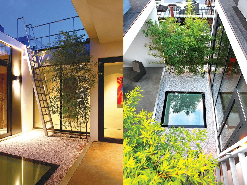 Left: Orban's rooftop Japanese garden separates twin stucco cubes; one is a roofed terrace; the other, his music room and adjacent bath. Right: The view from the upper terrace down through the Japanese roof garden; the skylight mimics a reflecting pool and overlooks the miniature Japanese garden below.