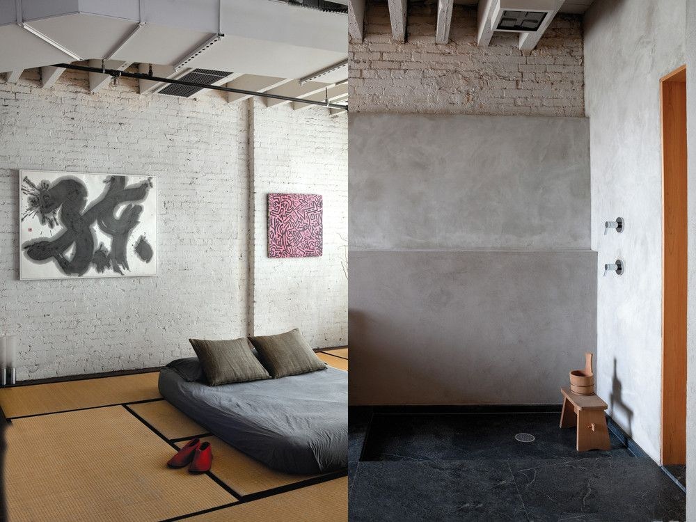 Left: In his master bedroom, Orban held true to the traditional Japanese formula as the tatami mats, futon, and Nakamura's