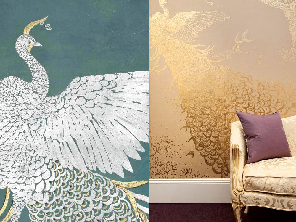 de Gournay's hand-gilded Whistler Peacocks pay direct homage to those painted by James McNeill Whistler for shipping magnate Frederick R. Leyland in 1876. Two versions are shown here. The golden peacock is on raw dyed silk. (Photography: Dan Marshall)