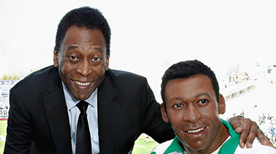Soccer Legend Pele Appears with Madame Tussauds New York Figure