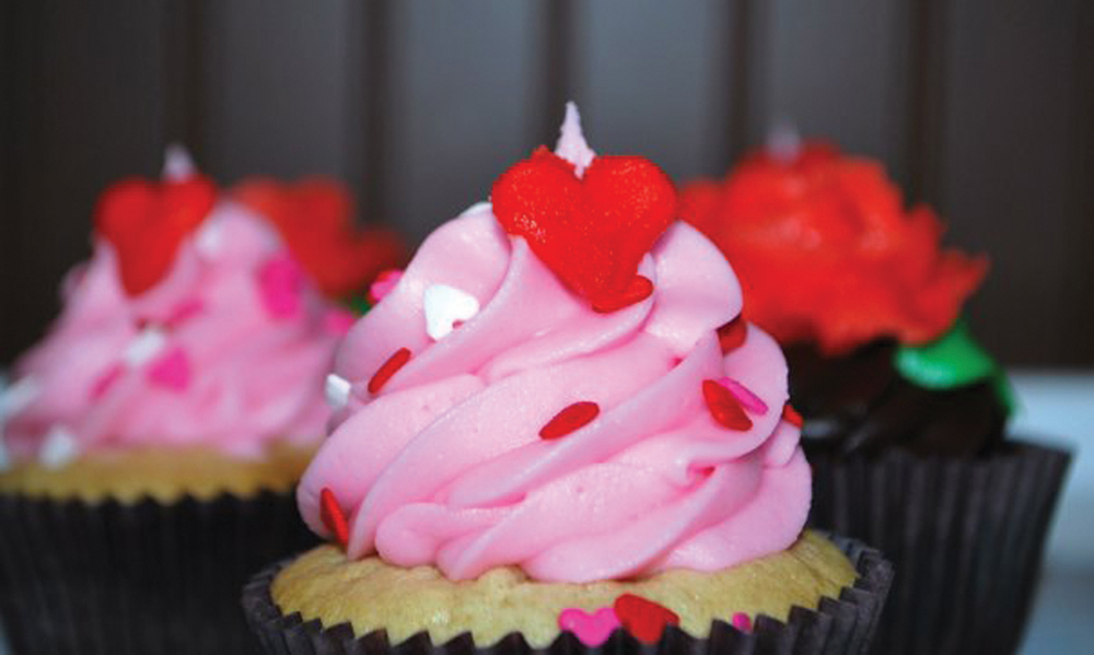 pink cupcake for Valentine's Day