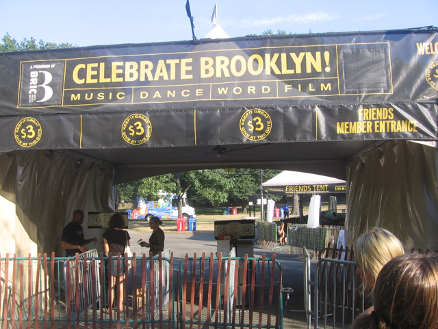 banner at entrance of prospect park celebrate brooklyn bandshell