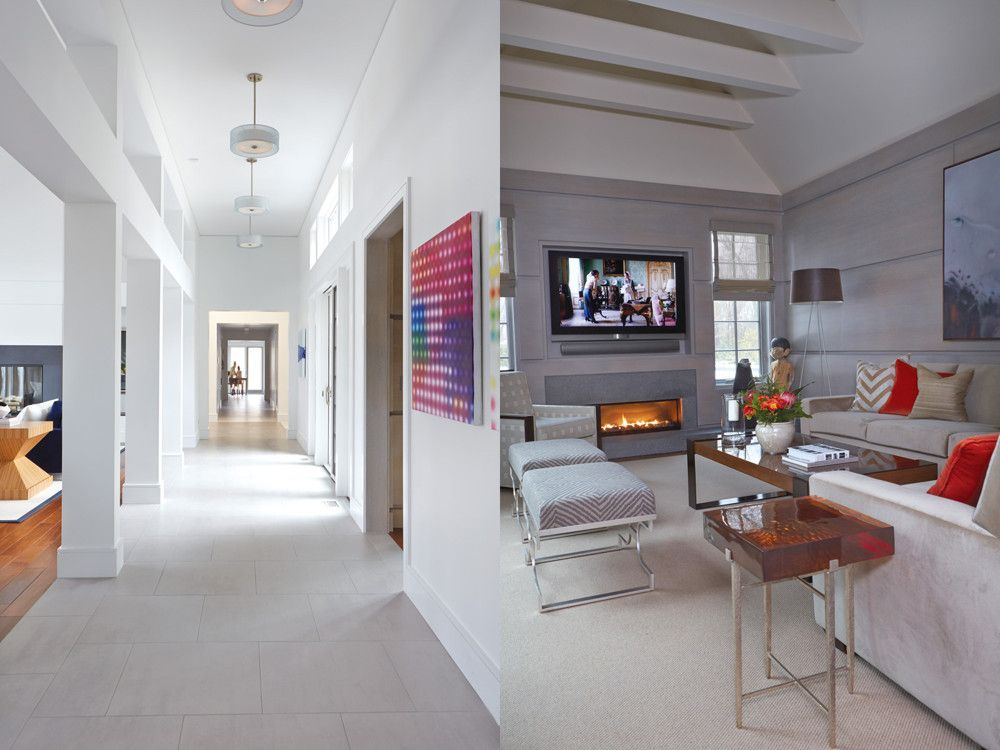 Left: With stone floors and a lower ceiling height, the serene open hallway allows light to flow through the interior. Right: In the library, walls paneled in limed oak, top-lit collar beams, woven leather shades, and a fireplace create an intimate atmosphere.