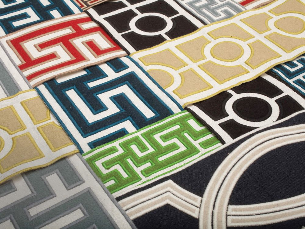 These appliqued borders come in a wide range of styles, colors, and patterns.
