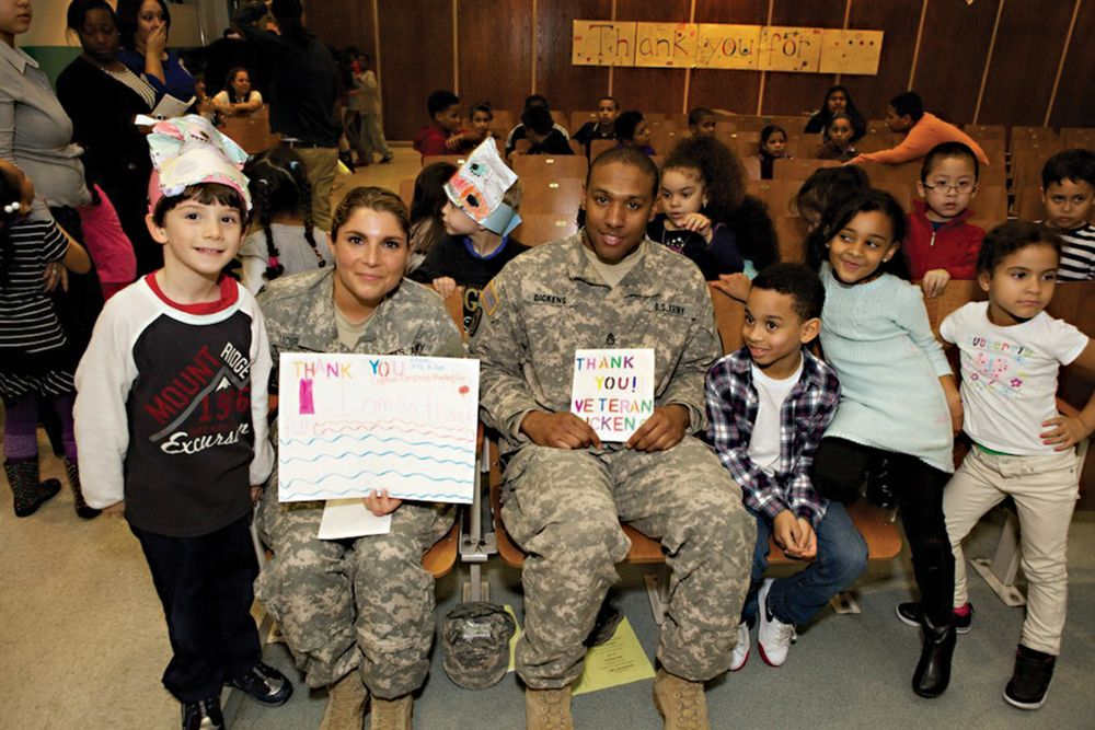 Fort Hamilton military personnel visit Brooklyn school