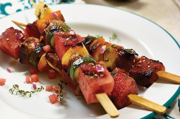 Grilled Watermelon and Pork Kabobs