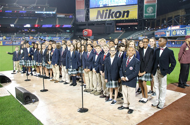 Buckley Country Day School Students Sing National Anthem at Citi Field
