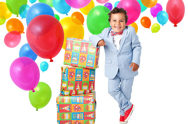 kid with balloons and presents