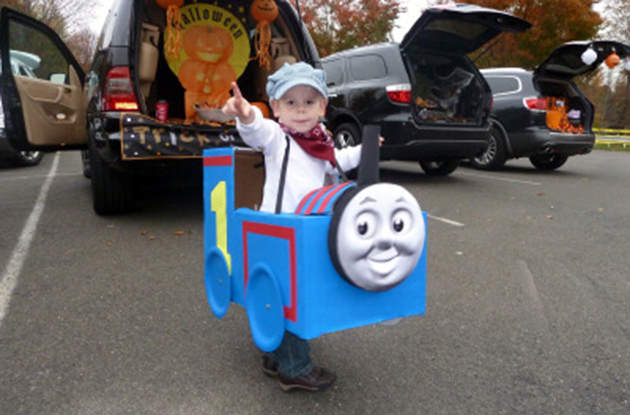 All Aboard for a DIY Train Halloween Costume