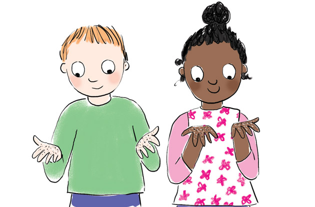 illustration of two children with germs on hands