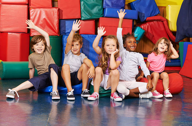 kids at an indoor play space