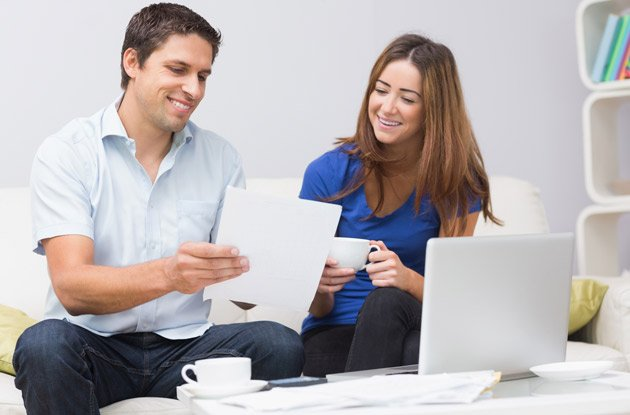couple looking at important documents