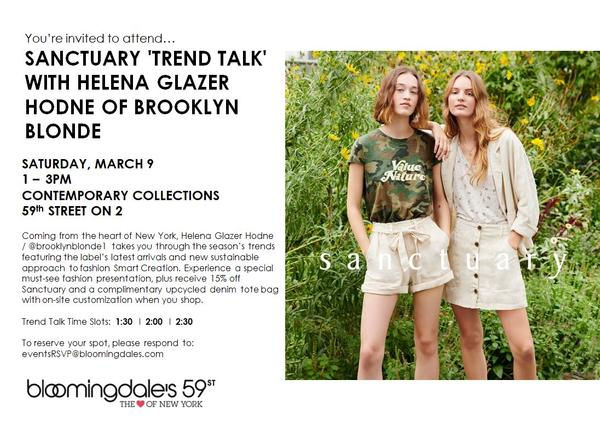 Sanctuary 'Trend Talk' with Helena Glazer Hodne of Brooklyn Blonde at Bloomingdale's 59 St at Bloomingdale's