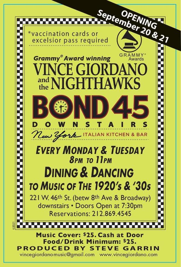 Vince Giordano and the Nighthawks at Bond 45