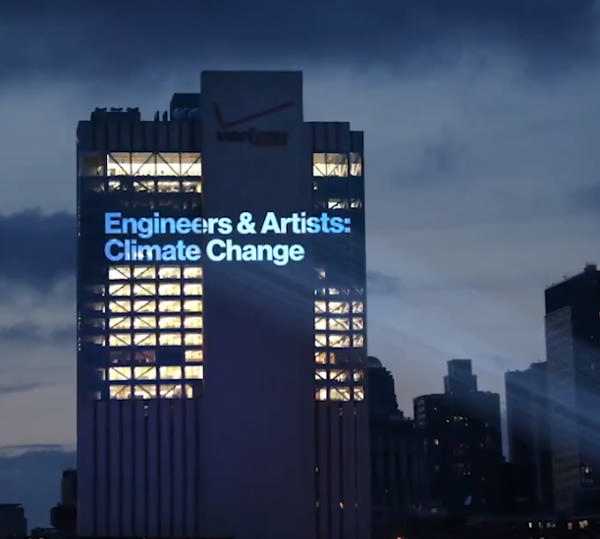 One-Night-Only Climate Change Exhibit on NYC Skyscraper at Brooklyn Bridge Park