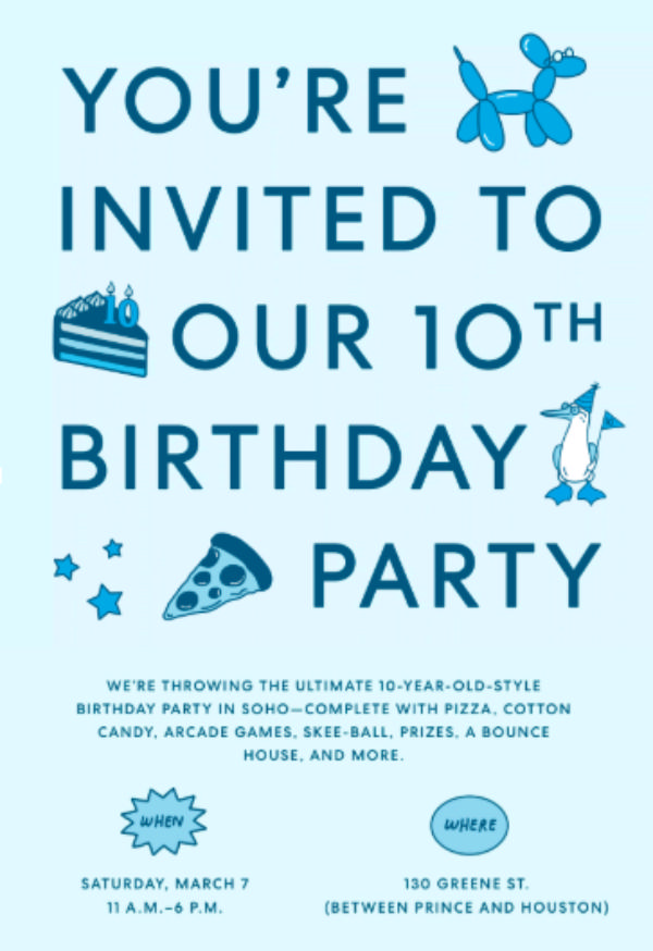Warby Parker's 10th Birthday Party at Warby Parker