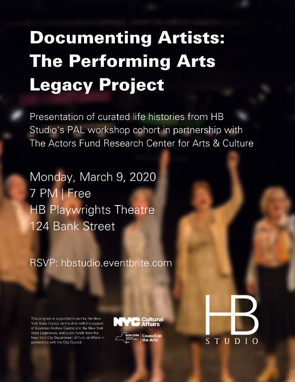 Hb Studio Public Conversation: Documenting Artists – The Performing Arts Legacy Project at HB Playwrights Theatre