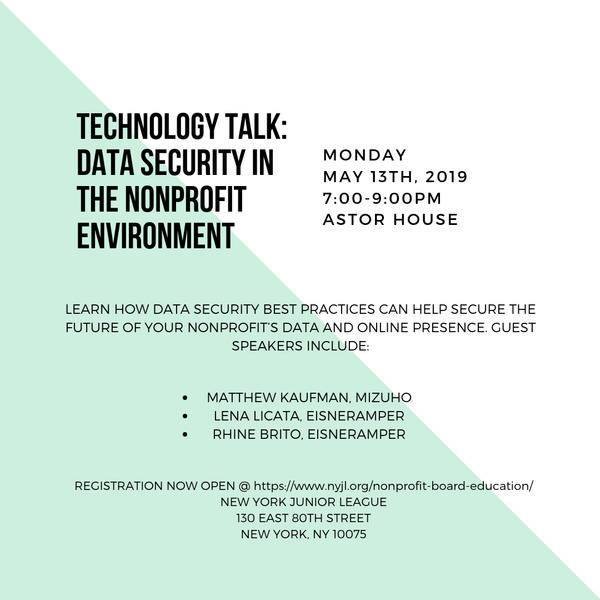 Technology Talk: Data Security in the Nonprofit Environment at New York Junior League