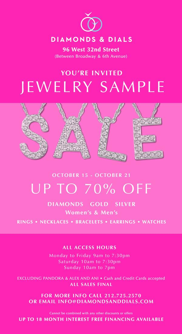 Jewelry Sample Sale--Up to 70% Off! at Diamonds & Dials