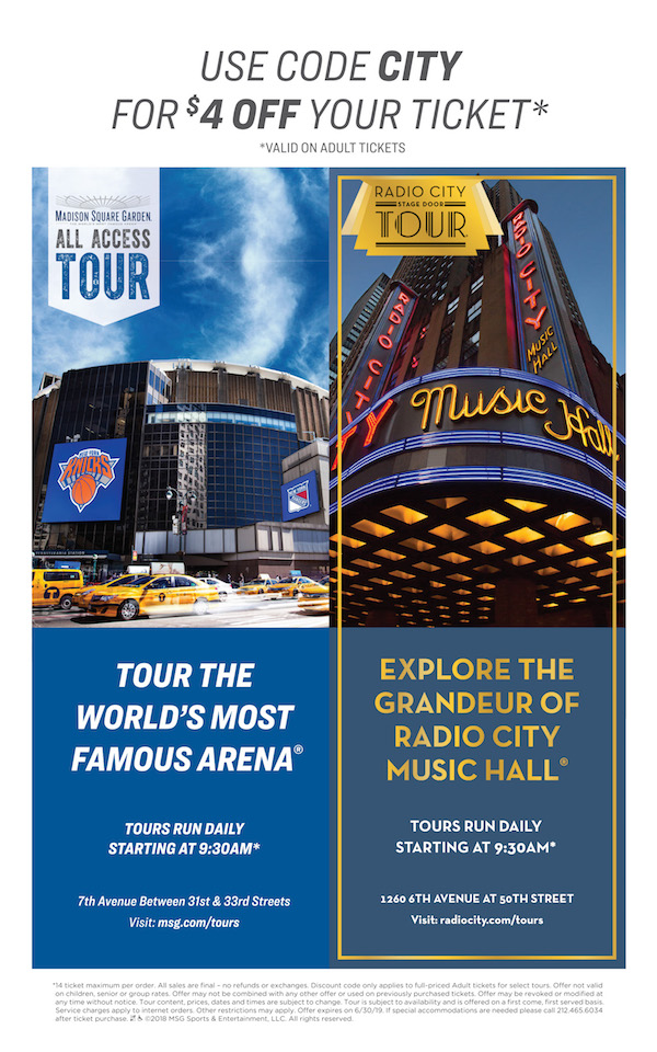 Madison Square Garden All Access Tour  - Save $ off adult ticket admission to MSG All Access Tour.  Expires: 6/30/2019