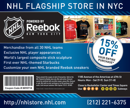 bcb52d71 NHL Store Powered by Reebok - New York City Coupon