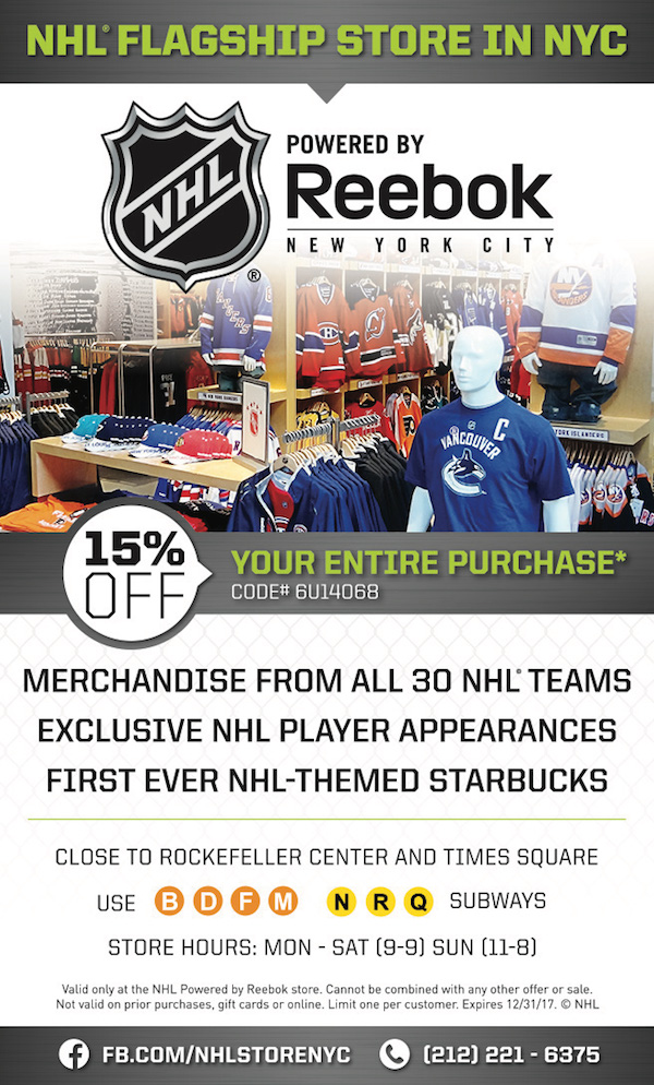 NHL Powered by Reebok  - 15% off your entire purchase.  Expires: 12/31/2017