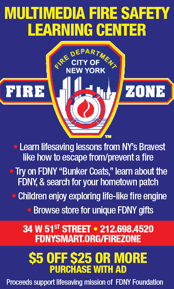 FDNY Fire Zone  - $5 off $25 or more purchase with ad.  Expires: 12/31/2018
