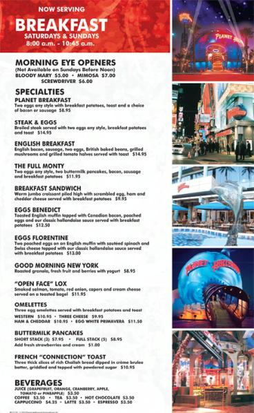 Planet Hollywood Restaurant Nyc Prices