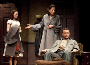 "Scarlett Johansson, Jessica Hecht, Liev Schreiber in ""A View from the Bridge"" on Broadway"