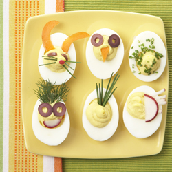 deviled eggs; Easter deviled eggs; Easter recipes; mild-mannered deviled eggs; decorated deviled eggs