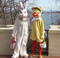Easter Bunny and Lil Chick at the Vanderbilt Museum; meet the Easter Bunny