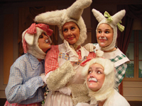 Don't miss Peter Rabbit and his friends, Flopsy, Mopsy, and Cottontail, live on stage at Theatre Three in Port Jefferson, April 1 and 3.