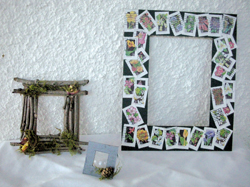recycled picture frames; earth day arts and crafts