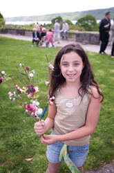 Wave Hill; young girl holding flowers; Mother's Day activities, Bronx