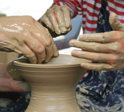 pottery making; clay; hands