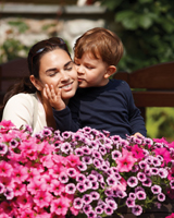 Mother's Day activities in Brooklyn; mom and son in garden