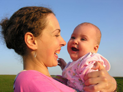 new parent tea at JCC Rockland; mom and baby; happy mom and infant