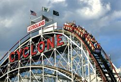 The Coney Island Cyclone; Brooklyn Cyclone rollercoaster; Coney Island rollercoaster